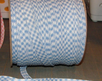 """BLUE Gingham 1/2"""" Extra Wide Double Fold Bias Tape Fabric Trim 10yds"""