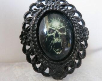 Brooch,Goth, Metal ,Skull ,Black Goth