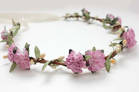 Lavender Bridal Floral Crown, Flower Hair Crown, headpiece, lavender Hair Accessories, bohemian, bridesmaids, flower girl-BELLA