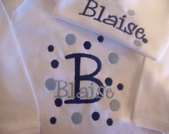 Personalized Coming Home outfit, Take  Home From Hospital Outfit,  Layette Gown, or one piece and Hat Set, Boys Coming Home outfit