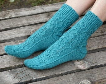 Hand knitted womens fishnet Socks with  soya turquoise blue