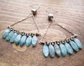 Muse . Teal Kyanite, Pyrite, Copper and Pyrite Sterling Silver Chandelier Earrings