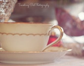 Christmas photography home decor holiday dining table lights white red green glitter dreamy bokeh teacup kitchen fine art photo wall art