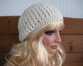 Womens Slouchy Hat Crochet Hat Winter Fashion Accessories Women Beanie Winter Hat in Ecru/Light cream by creationsbyellyn
