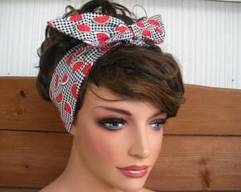 Womens Headband Dolly Bow Headband Retro Summer Fashion Accessories Hair Pin Up Headband Headscarf in Black Plaid Watermelon print