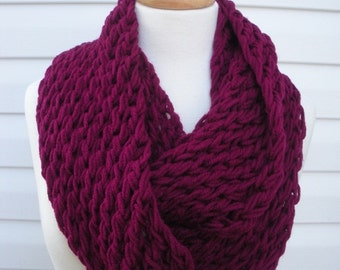 Hand Knit Scarf Womens Scarf Cowl Accessories Women Infinity Scarf Double Loop Scarf in Boysenberry by creationsbyellyn