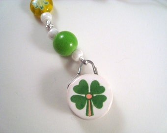 Green 4-leaf Clover Cellphone Charm CH010 cell phone charm Irish charm lucky 4 leaf clover