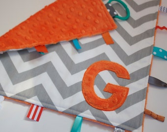 Personalized Chevron baby blanket - Orange Gray - lovey travel minky shower gift nursery monogram intial elephant