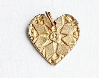 Gold Heart Charm, Heart Pendant, Gold Heart