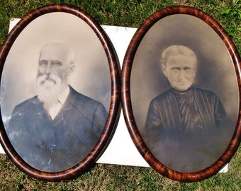 """SALE! 100 Years Old Victorian Antique Professionally Done Oval Framed PAIR of Man & Woman Tinted Photographs.  21"""" x 15"""" each.  ONLY 99.00"""
