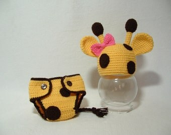 Adorable Baby Giraffe Outfit. Diaper Cover With/ without Bow.Photo Prop. Perfect Gift for Baby Shower
