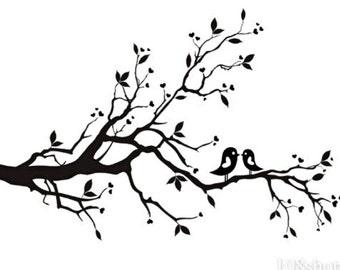"Vinyl Wall Art ""Birds on Branch"" 24""x12"""