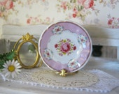 Shabby Pink Rose Dollhouse Plate