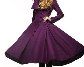 Purple Dress Coat Big Sweep Women Wool Winter Coat Long Jacket Tunic / Fast Shipping - NC222