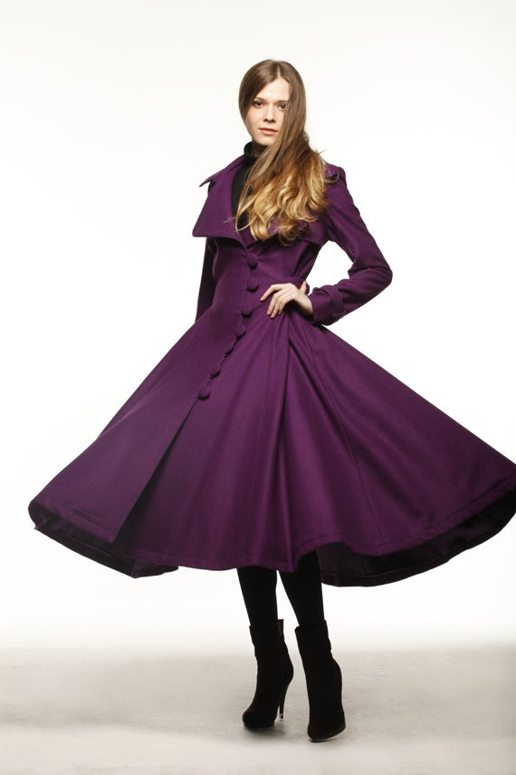 Fall Dresses With Jackets For Women Purple Dress Coat Big Sweep