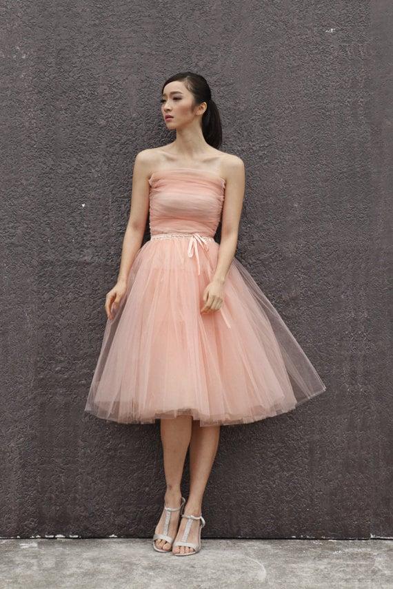 Tulle skirt tea length tutu skirt elastic waist by for How to make a long tulle skirt for wedding dress
