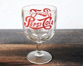 Vintage Pepsi Cola Drink Glass Goblet, 1970s Advertising 16 ounce Promotional Collectible
