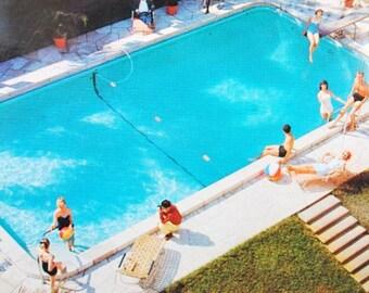 1950s St Petersburg Florida Postcard, Vintage Ad Concord Hotel Pool Post Card