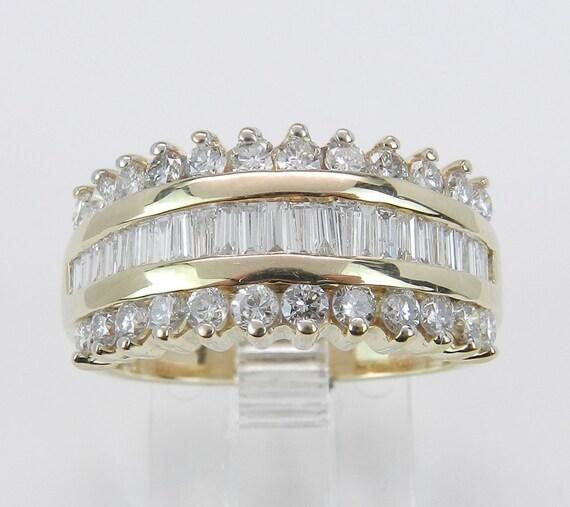 1.50 ct Diamond Wedding Ring Anniversary Band Wide 14K Yellow Gold Size 6.75