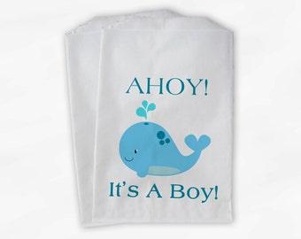 Whale Baby Shower Favor Bags - Ahoy It's A Boy Custom Treat Bags for Baby Shower - 25 Paper Bags (0027)