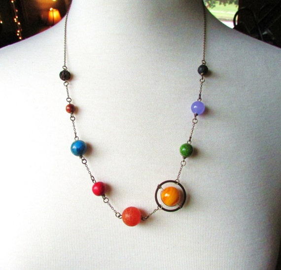 Planets Necklace Solar System the Nine Planets on Antique ...