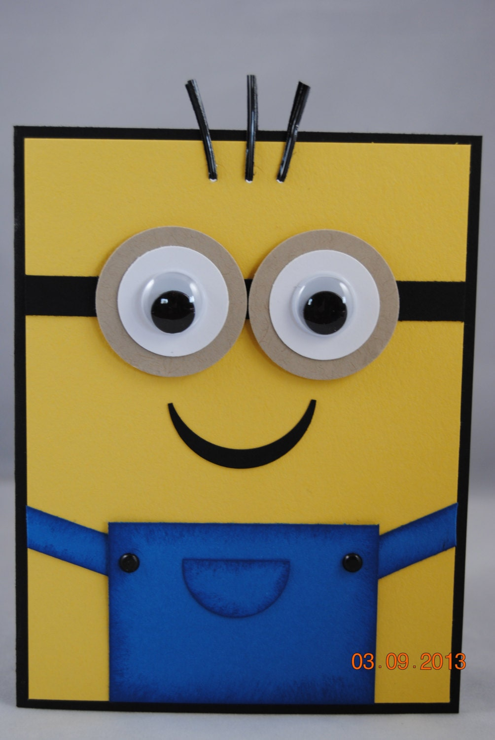 handcrafted yellow minion birthday card