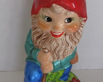 Large Garden Gnome with Shovel