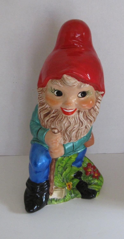 Gnome In Garden: Large Garden Gnome With Shovel
