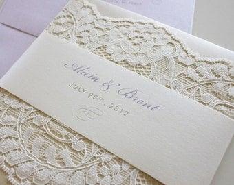 Beautiful Simple Custom Lace Wedding Invitation in Lavendar, Champagne & Ivory