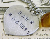 Stamped Barn Goddess Heart Charm Brown Glass Flower Accent  Necklace Valentine's Day Gift