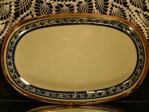 XOCHIQUETZAL, MEXICAN POTTERY, Large Oval Ceramic Platter by Teresa Duran, Tonala, Jalisco Mexico, Housewarming Gift, Hostess Gift