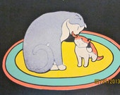 Last Minute - Vintage - Art Deco -Charming  Illustration of Mother Cat and Kitten