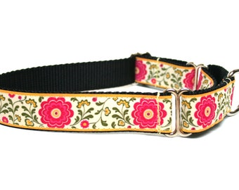 "Spring Dog Collar Pink Flowers Martingale 1"" or Side release availble"