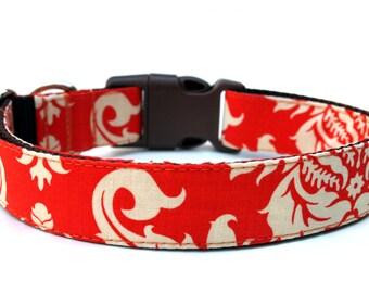 """Fall Dog Collar 1"""" Orange Damask Dog Collar"""