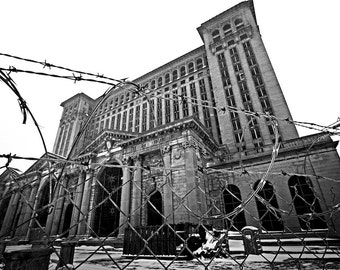 Detroit Photography - Michigan Central Station Barbed Wire - Black and White