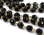 Rosary Chain - 8mm Black Beads on Gold Links - Czech Bead Chain - 3 Feet