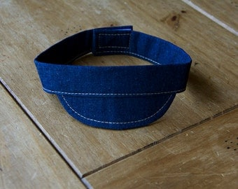 Newborn Boy Blue Jean Visor - Made to Order