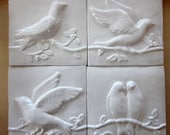 Ceramic Bird Tiles -- Bright White glaze, Set of 4 Birds on a Vine, relief tiles, accent tiles, IN STOCK