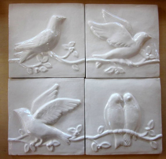 Ceramic Bird Tiles Bright White Glaze Set Of 4 Birds On A