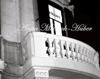 Prada- Rome- Fine Art Photograph-Designer- Fashion Theme Decor-Shopping-Fashionista-Italy-Prada-Balcony-Black & White-Romantic-Dreamy-Dorm
