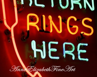 Merry go round- Return Rings Here-Carnival Photography- Old Sign-Game Room-Amusement ride-Boardwalk-Circus-Rec Room-Carnival Decor-Neon Sign