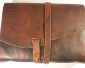 Made to order Leather Bound Blank Notebook 5 x 7 Rich Brown Bison Hide