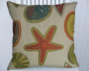 Beach  Pillow Cover 18x18, 20x20, 22x22 Decorative Throw Pillow Starfish, Sea Shells  Summer Home Accent Pillow, Orange, Green, Blue, Yellow
