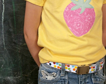 Rainbow Polka Dot Belt with Military Buckle, Colorful Dots Ribbon, Back to School Clothing, Toddler and Youth Sizes Available