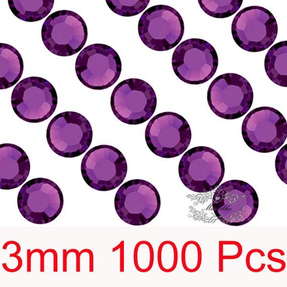 1000 PCS X 3mm SS12 Round Amethyst Dark Purple Rhinestone Bling 14 Faceted Cut Crystal Gems Resin Flatback Deco Den Nail Art Craft (GM.R3DU)