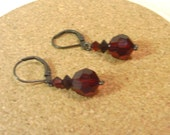 Vintage Red Crystal Bead Earrings - Gunmetal Leverback Hangers