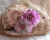 Vintage Lavender Roses Crochet Hat