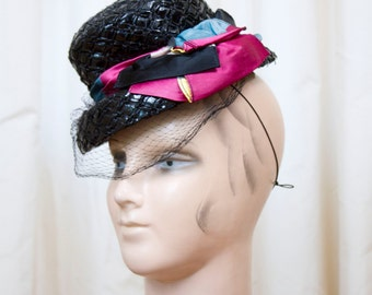 1940s Hat // Side Tilt Black Cellophane Topper with Stripped Ribbon and Veil