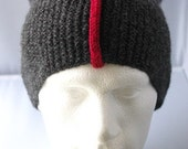 Handknitted men's slouchy beenie hat. Adult or teenager. Grey with red stripe.