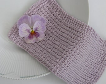 Hand knitted dish cloth - wash cloth - soft cotton light lavender purple